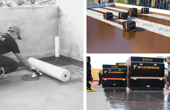 Old installation method of liquid applied membrane vs new installation method reduces labor & improves efficiency both methods use Colback nonwoven fabrics