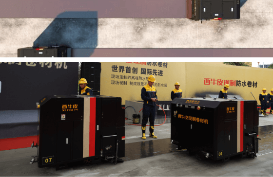 XNP machines installing liquid applied membranes using Colback nonwoven fabric carrier material