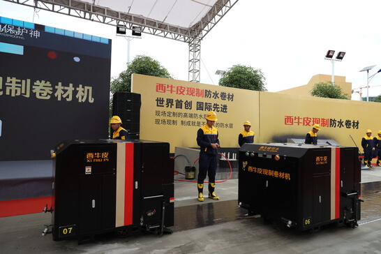 new machine for installation of liquid applied membranes by XNP China, using Colback non-woven fabrics